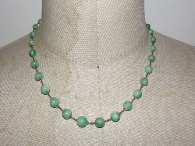 14 kt Gold Filled and Jade Bead Necklace