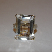 Massive 14 kt Gold Vermeil Sterling Silver Emerald Cut Rock Crystal Quartz Cocktail Ring