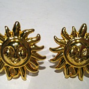 14 kt Gold Vermeil Versace Sun Earrings