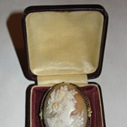 Edwardian 14 kt Gold and Shell Cameo Woman's Profile Brooch Pendant