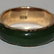 14 kt Gold and Green Jade Eternity Band Ring
