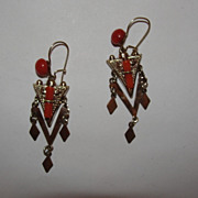 Victorian 14 kt Rolled Gold over Brass and Red Coral Dangle Chandelier Earrings