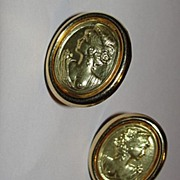 18 kt Gold Cameo Cleopatra Earrings