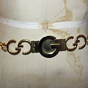 18 kt Gold Plated Horse Bit and GG Monogram Gucci Belt