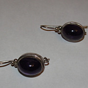 Massive Amethyst Cabochon Drop Earrings