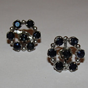 Sterling Silver and Blue Sapphire Round Shield Post Earrings