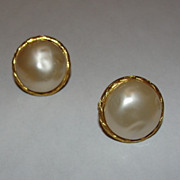 Chanel 18 kt Gold Plated Faux Pearl Bubbled Earrings
