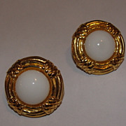 18 kt Gold Plated  Chanel Gripoix White Glass Cabochon Earrings