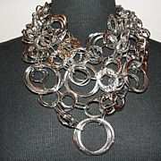 Circles of Life Silvertone Bib Necklace