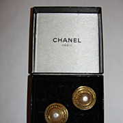 Chanel 18 kt Gold Plated Faux Pearl Basket Weave Rope Disc Earrings