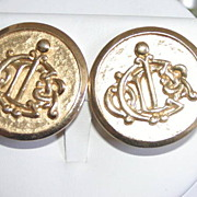 Goldtone Monogrammed Christian Dior Clip on Earrings