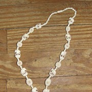 Lucky Carved Ivory Elephant and Bead Necklace