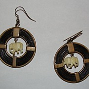 African Brass Elephant Hair Hoop Earrings with Ivory Elephant Charms Dangle