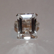 Massive Sterling Silver Emerald Cut Rock Crystal Quartz Cocktail Ring