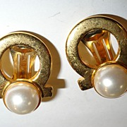Ferragamo 14 kt Gold Plated and Faux Pearl Cabochon Clip Earrings