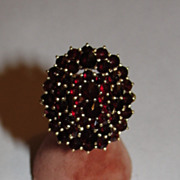 14 kt Gold Vermeil over Sterling Silver Bohemian Garnet Cocktail Ring