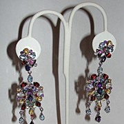 Natural Gemstone and Sterling Silver Chandelier Earrings