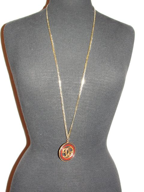 18 kt Gold Plated Gucci Monogram Navy and Red Pendant and Necklace