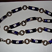 Gucci 14 Kt Gold Plated Blue and White Enamel Necklace or Belt