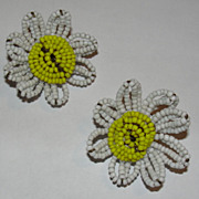White and Yellow Glass Seed Bead Daisy Miriam Haskell Earrings