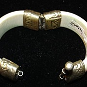 Elephant Ivory Bracelet with White Metal Hinge