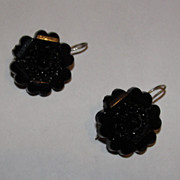 Victorian Jet Flower Dangle Earrings in Sterling Silver