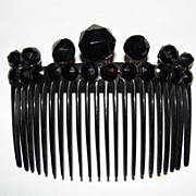 Victorian Black Celluloid Hair Comb and Faceted Jet Circular Studs