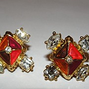 Enameled Goldtone Christian LaCroix Pierced Earrings Orange and Red