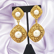 Massive Authentic CHANEL Haute Couture 18 kt Gold Plated Faux Pearl Dangle Earrings