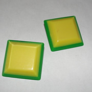 Green and Yellow Square Plastic Missoni Earrings