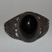 Navajo Native American Sterling Silver and Black Onyx Cabochon Cuff Bracelet
