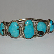 Navajo Native American Sterling Silver and Turquoise Bracelet