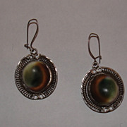 Sterling Silver Operculum Shell Filigree Dangle Earrings Evil Eye