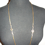 14 kt Gold Plated Pierre Cardin Monogrammed Flapper Chain Necklace