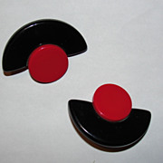 Red and Black Artsy Bakelite Circular and Half Moon Earrings