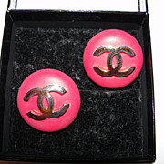 Chanel Red Resin and 18 kt Gold Plated Monogrammed Earrings