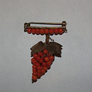 Mediterranean Red Coral Grape Pin Brooch 14 kt Gold Vermeil over Sterling Silver