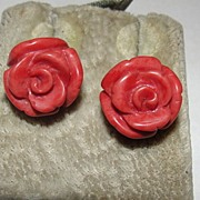 Sterling Silver Carved Flower Red Coral Rose Earrings