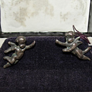 Victorian Sterling Silver and 14 kt White Gold Angel Cherub Earrings