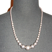 Sterling Silver Round Graduated Bead Necklace