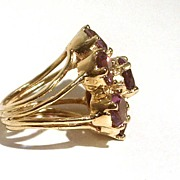 Sterling Silver and 18 kt Gold Vermeil Flower Cocktail Ring with Faceted Purple Amethyst