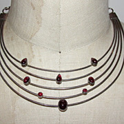 Sterling Silver and Red Garnet Cabochon Galaxy Necklace