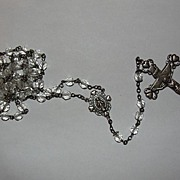 Sterling Silver and Faceted Crystal Rosary Necklace with Virgin Mary and Crucifix