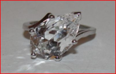 Art Deco Sterling Silver Pear Shaped Rock Crystal Quartz Cocktail Ring
