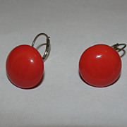 Sterling Silver and Red Coral Button Drop Dangle Earrings