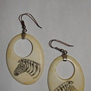 Sterling Silver African Ivory Drop Earrings with Zebras