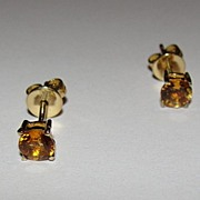 14 kt Gold Small Round Citrine Earrings