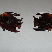 Hawaiian Tortoise Shell Fish Earrings