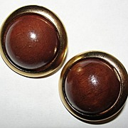 YSL Yves Saint Laurent Goldtone and Brown Wood Ball Earrings Safari Collection
