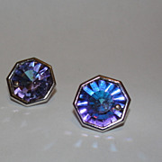 Head Light YSL Yves Saint Laurent Silvertone Octagonal Crystal Aurora Borealis Earrings